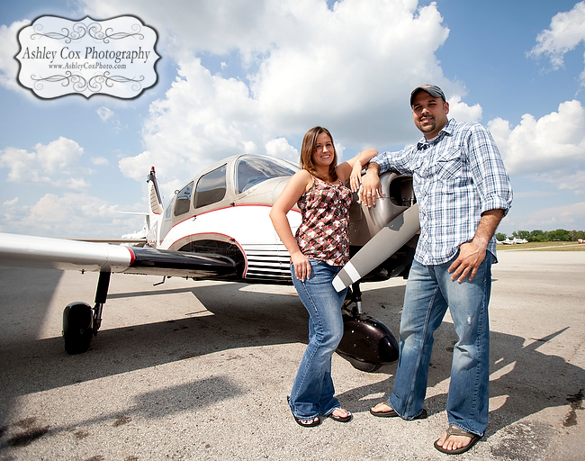 Jennifer and Joey's engagement portraits shot at Baytown Airport in Baytown, Texas.