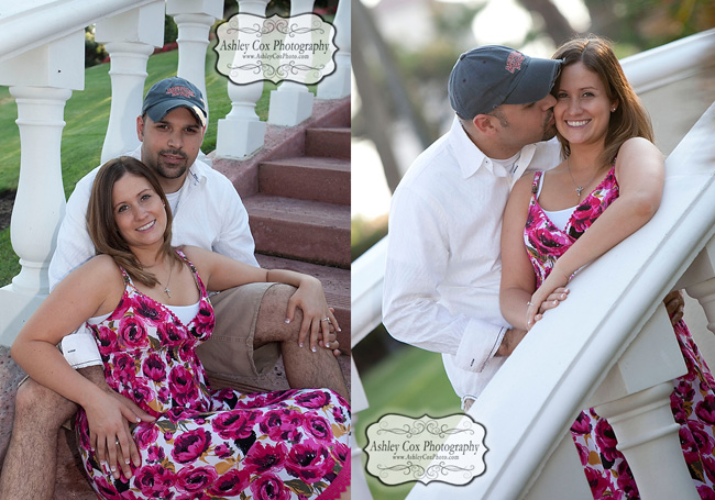 Jennifer and Joey's engagement portraits shot at San Luis Resort in Galveston, Texas.
