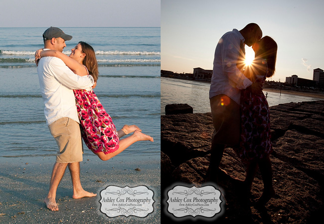 Jennifer and Joey's engagement portraits on the beach in Galveston, Texas.