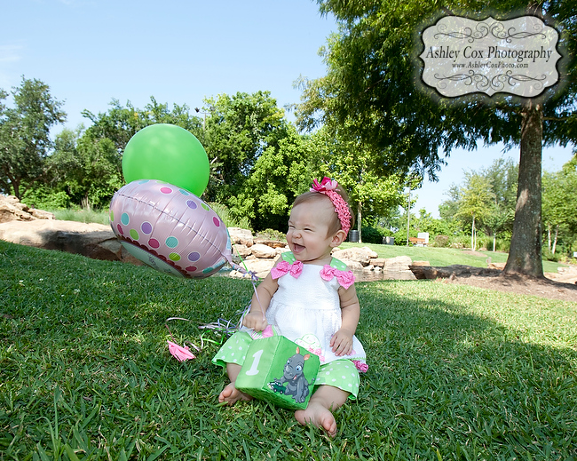 Karis one-year-old birthday pictures in Sugar Land at Oyster Creek Park on Monday, June 25, 2012.