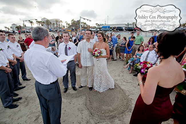 The wedding of Amanda and Nathan on the beach in Galveston.