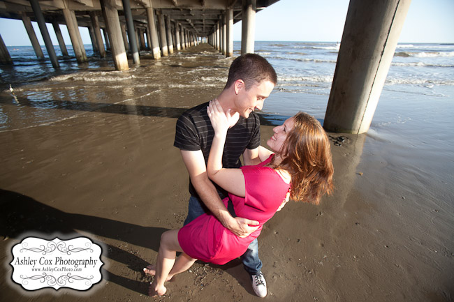 Hannah and Tim's engagement portraits on the beach in Galveston.