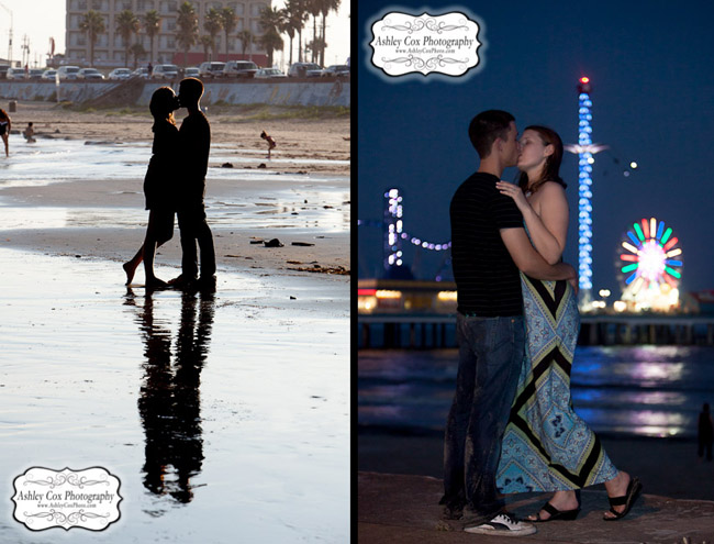 Hannah and Tim's engagement portraits on the Seawall in Galveston.