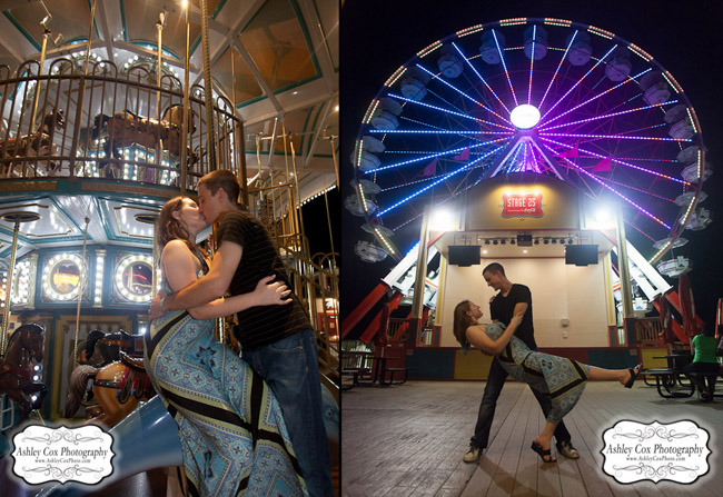 Hannah and Tim's engagement portraits on the Pleasure Pier in Galveston.