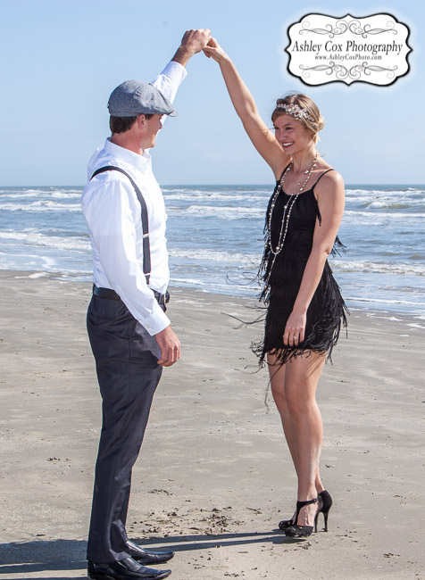 © 2015 Ashley Cox, All Rights Reserved Cat and Chad's engagement portraits in Galveston at Beachtown on Feb. 9th.